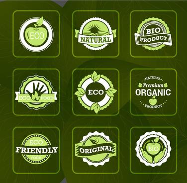 bio labels sets illustration on vignette green background