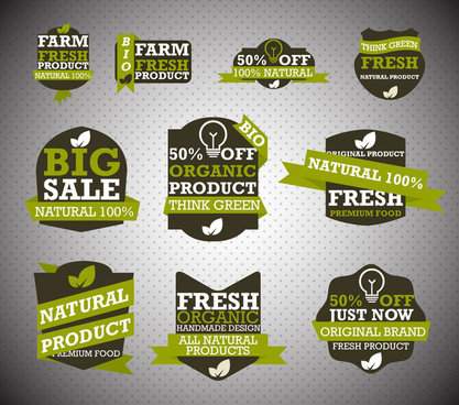 bio product labels sets illustration with multi shapes