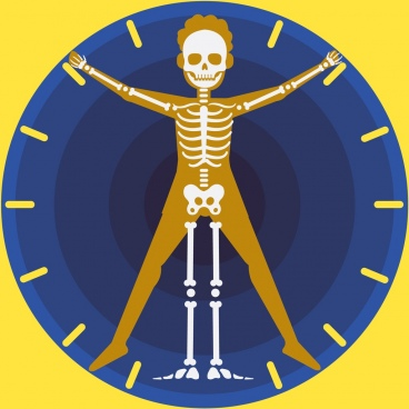 biological clock background skeleton icon circle decor