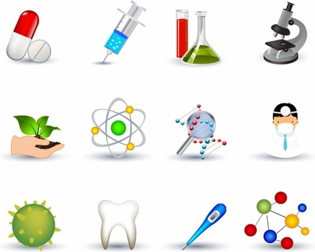 Biotechnology Medicine Icon Set