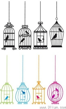bird cages icons classical flat silhouettes sketch