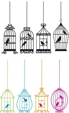 bird and birdcage vector