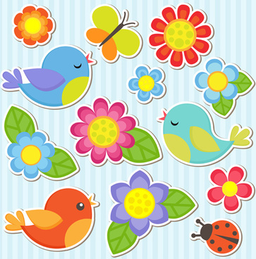 bird and butterfly and ladybug with flower sticker vector