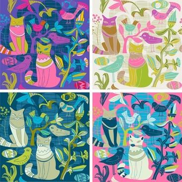 decorative background templates colorful retro animals theme