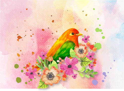 bird and flower watercolor picture