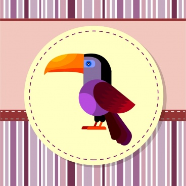 bird background badge colorful parrot decoration cartoon style