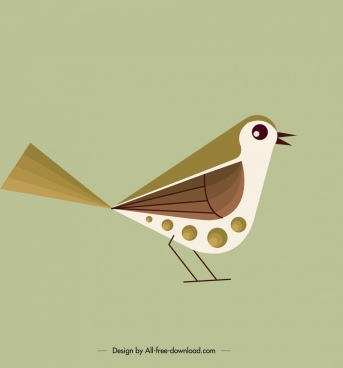 bird background cute tiny sparrow icon classical flat