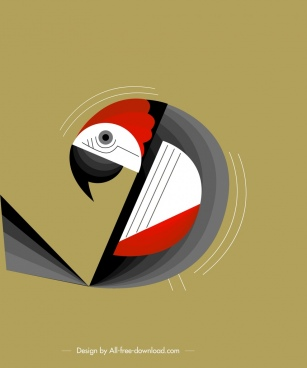 bird background parrot icon classical flat design