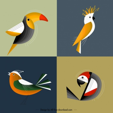 bird background parrot sparrow icons colorful classical design