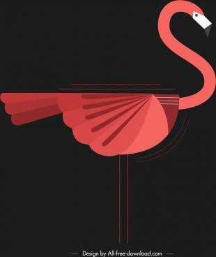 bird background red stork icon dark classical design