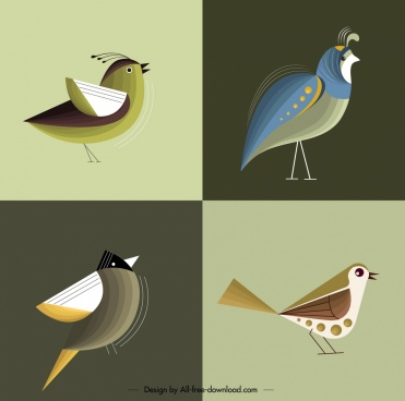 bird background templates classical colored flat decor