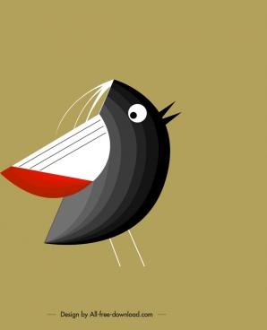 bird background tiny black bird icon classical design