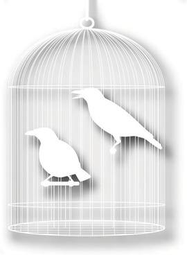 bird cage with papercuts vector