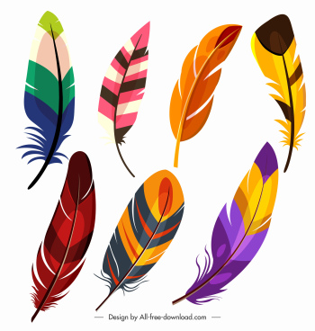 bird feather icons colorful handdrawn sketch