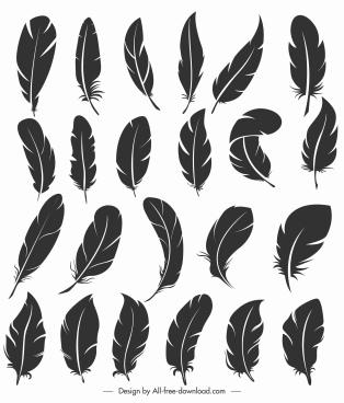bird feather icons dark black handdrawn shapes