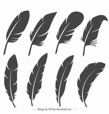 bird feathers icons black white handdrawn sketch