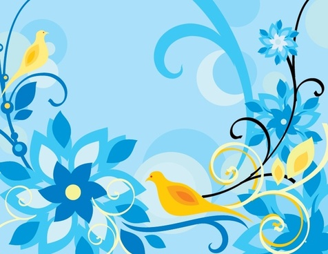 nature painting flowers birds icons classical colorful design
