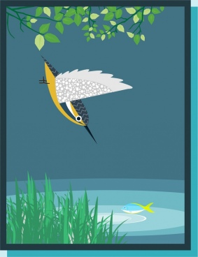 bird hunting fish theme colorful design style