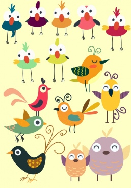 bird icons collection cute colored design