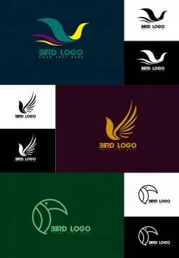 bird logo collection various shapes isolation dark design