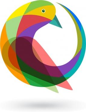 bird logo design colorful curves design