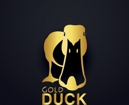 bird logo design golden duck icon dark design