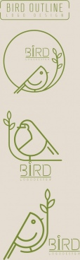 bird logo sets flat handdrawn sketch