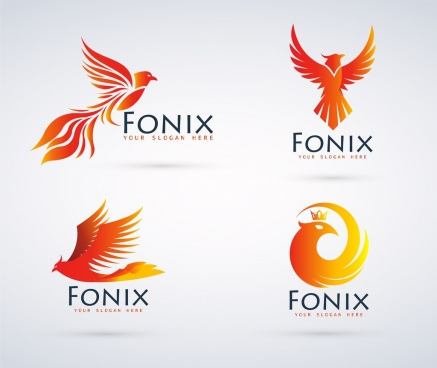 bird logo sets phoenix icon yellow design