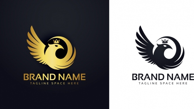 Bird Logo Template Wings Icon Shiny Silhouette Design