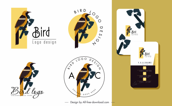 bird logo templates colored classic flat decor