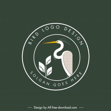 bird logotype stork sketch flat classic