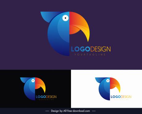 bird logotype toucan sketch colorful flat design