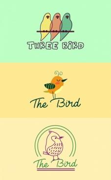 bird logotypes colored cartoon sketch