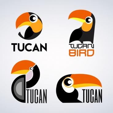 bird logotypes parrot icon isolation flat design