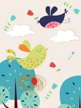 bird nest drawing colored cartoon decor