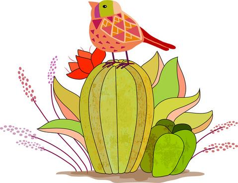 bird on fruits cartoon vector illustration