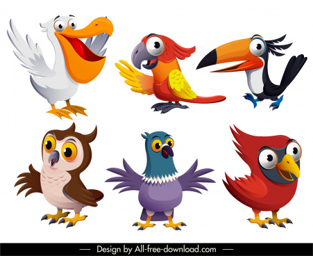 bird species icons cute cartoon character design