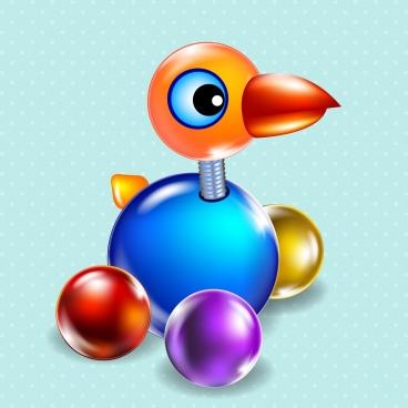 bird toy icon 3d shiny multicolored design