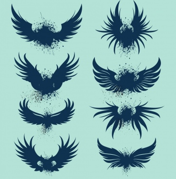 bird wings icons collection grunge silhouette design