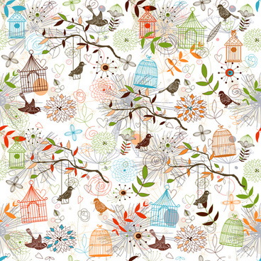 birdcages and birds seamless pattern vector