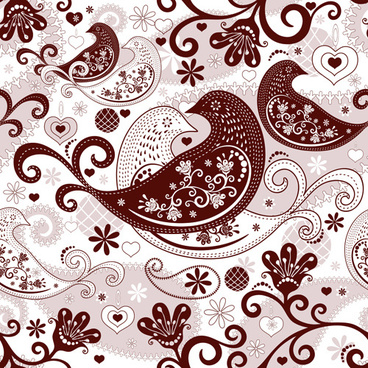 birds and floral seamless pattern vector