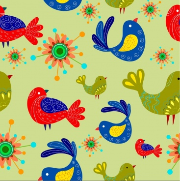 birds and flowers pattern classical colorful design