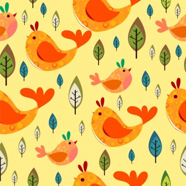 birds and leaves pattern colorful flat repeating design