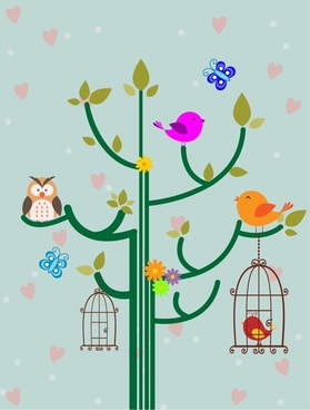 birds backdrop design with cute cartoon style