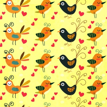 birds background multicolored cartoon repeating style