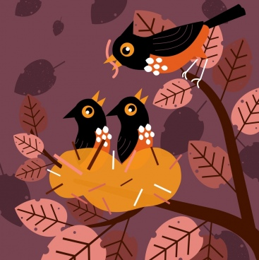 birds family background colored cartoon design