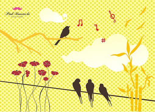 birds flowers