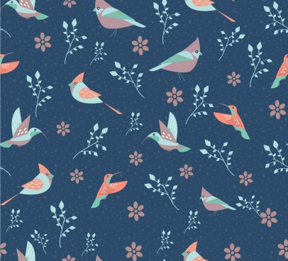 birds flowers pattern colored repeating style