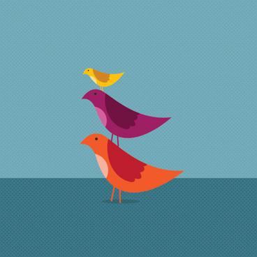 birds growing together vector