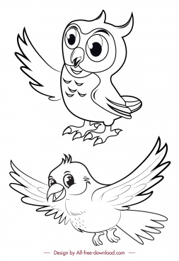 birds icons black white owl dove handdrawn sketch